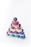 Rainbow of nail polish Stock Image