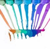 Rainbow of nail polish Stock Photos