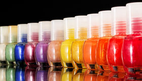 Rainbow of nail polish Stock Image