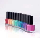 Rainbow of nail polish Royalty Free Stock Images