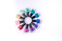 Rainbow of nail polish Stock Photo