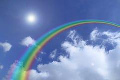 Rainbow nel cielo blu Fotografia Stock Libera da Diritti