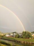Rainbow nel lago Fotografie Stock