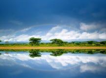 Rainbow nel lago Immagine Stock Libera da Diritti