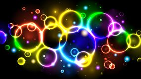 Rainbow Neon Color Bright Bubbles, Abstract Multicolor Background With Circles, Sparkles, Bokeh Royalty Free Stock Photography