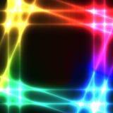 Rainbow neon grid on dark background - template Royalty Free Stock Photo