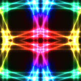 Rainbow neon grid on dark semaless background Stock Photos
