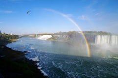 Rainbow at niagara falls. Between the canadian and american Royalty Free Stock Photo