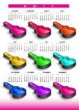 2017 rainbow of nine guitar cases calendar. For print or web Royalty Free Stock Photography