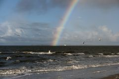 Rainbow on the North Frisian Island Amrum. In Germany Stock Image