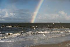 Rainbow on the North Frisian Island Amrum Royalty Free Stock Photography