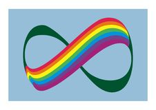 Rainbow and number 8, symbolizes infinity, vector logo Royalty Free Stock Photos