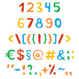 Rainbow numbers and symbols Stock Image