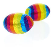 Rainbow objects: easter eggs Royalty Free Stock Photos