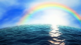 Rainbow ocean. Rainbow over the ocean (seamless loop