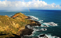 Rainbow on an ocean. Rainbow in a sunny day on the Southern Ocean,  Mornington Peninsula, Bass Strait, Australia Stock Photography