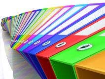 Rainbow office folders Royalty Free Stock Photography