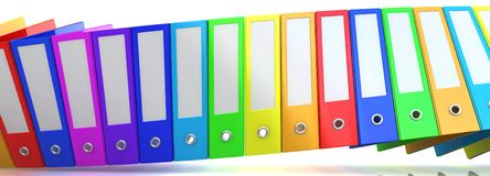 Rainbow office folders. 3D render. Abstract background Stock Image