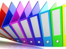 Rainbow office folders. 3D render. Abstract background Royalty Free Stock Photo