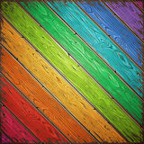 Rainbow Old Wooden Painted Wall Royalty Free Stock Photos