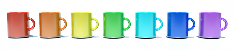 Rainbow out of the cups on a white background. A set of multi-colored cups of coffee vector illustration