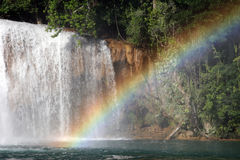 Rainbow over the Agua Azul Royalty Free Stock Images