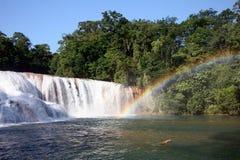 Rainbow over the Agua Azul stock photo