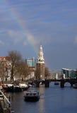 Rainbow over Amsterdam, Netherlands Stock Image