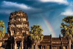 Rainbow over Angkor Wat Royalty Free Stock Images