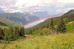 Rainbow over Arabba, Dolomites Stock Images
