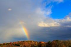 Rainbow over autumn hillside in Berkshires Hudson Valley NY Royalty Free Stock Image