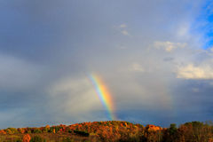 Rainbow over autumn hillside in Berkshires Hudson Valley NY Stock Photography