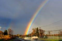 Rainbow over autumn hillside in Berkshires Hudson Valley NY Royalty Free Stock Photography
