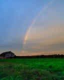 Rainbow over autumn hillside in Berkshires Hudson Valley NY Royalty Free Stock Photos