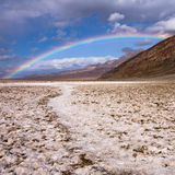 Rainbow over Badwater in Death Valley. California royalty free stock photography
