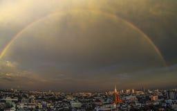 Rainbow over Bangkok royalty free stock photo
