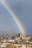Rainbow Over Bath Abbey, England, UK Stock Images