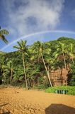 Rainbow over the beach of Hanauma Bay on Oahu, Hawaii stock image