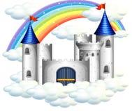 A Rainbow Over Beautiful Castle Stock Photo