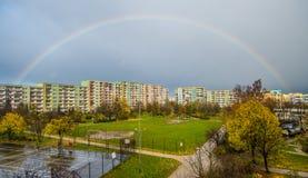 Rainbow over blocks of flats Royalty Free Stock Photography