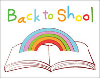 Rainbow over the book back to school Royalty Free Stock Photo