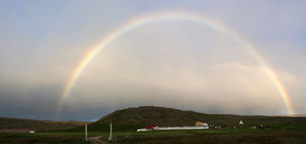 Rainbow over Breidavik beach in Iceland's Westfjords stock image