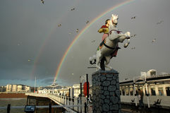 Double Rainbow over Brighton Pier, Sussex England Royalty Free Stock Image
