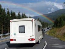 Rainbow over the caravan stock image