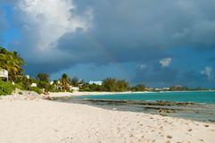 Rainbow Over Caribbean Beach Royalty Free Stock Photo