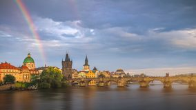 Rainbow over Charles Bridge after a storm in the summer, Prague, Royalty Free Stock Image