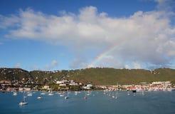 Rainbow over Charlotte Amilee, St. Thomas, USVI Royalty Free Stock Photos