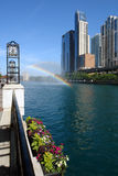 Rainbow over Chicago river Royalty Free Stock Photography