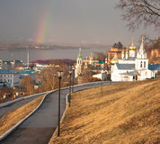 Rainbow over Church of Elijah the Prophet Nizhny Novgorod Royalty Free Stock Images