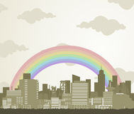 Rainbow over a city Royalty Free Stock Images